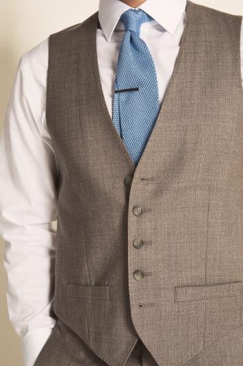 Tailored Fit Stone Semi Plain Waistcoat
