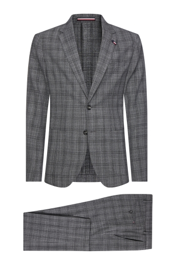 Tommy Hillfiger Slim Fit Grey Heather Black Washable Check Suit