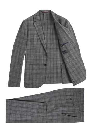 Tommy Hillfiger Slim Fit Grey Heather Black Washable Check Suit