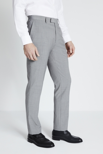 Moss 1851 Performance Tailored Fit Light Grey Marl Trousers