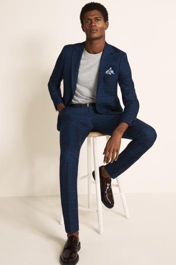 Moss London Slim Fit Bright Blue Check Jacket