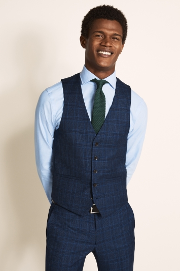 Moss London Slim Fit Bright Blue Check Jacket