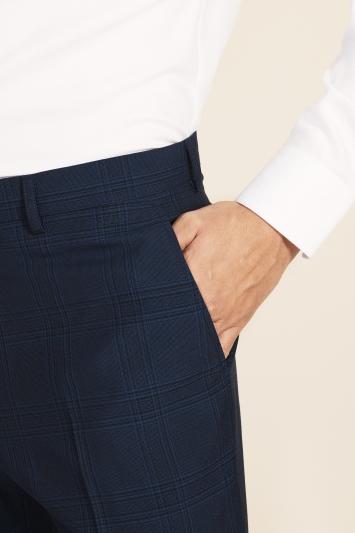 Moss 1851 Regular Fit Blue Check Trouser
