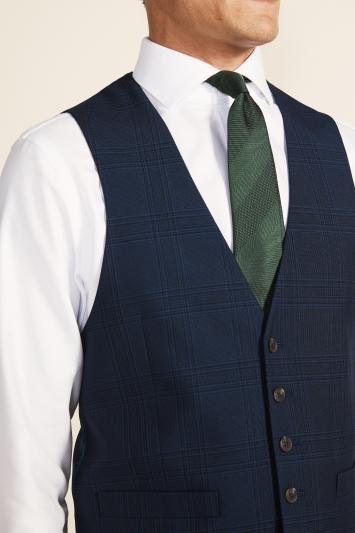 Moss 1851 Regular Fit Blue Check Waistcoat