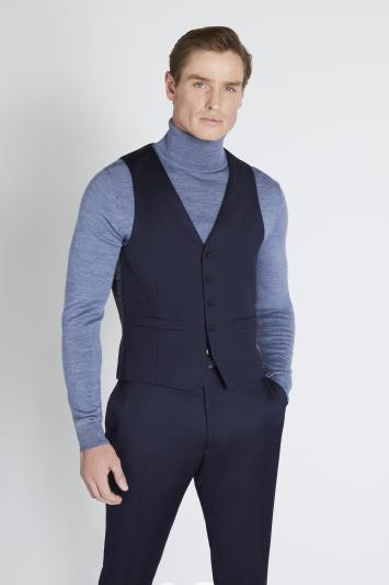 Reda Slim Fit Navy Twill Waistcoat