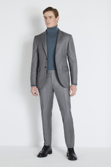 Reda Slim Fit Grey Sharkskin Jacket