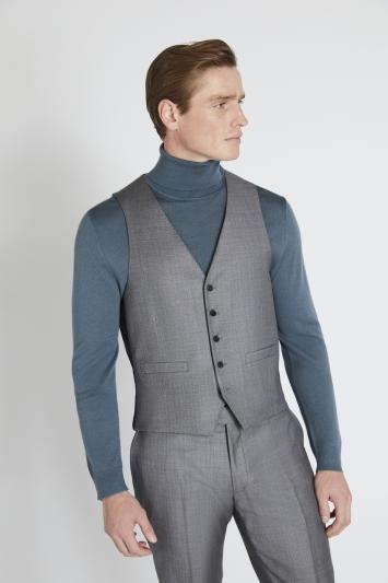 Reda Slim Fit Grey Sharkskin Waistcoat
