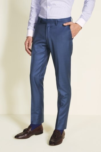 Reda Slim Fit Blue Sharkskin Trouser