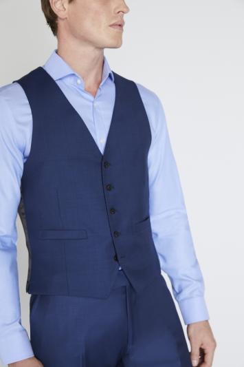 Reda Slim Fit Blue Sharkskin Waistcoat
