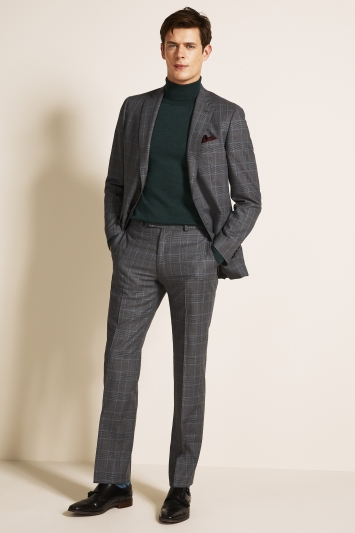 Regular Fit Grey Blue Check Jacket