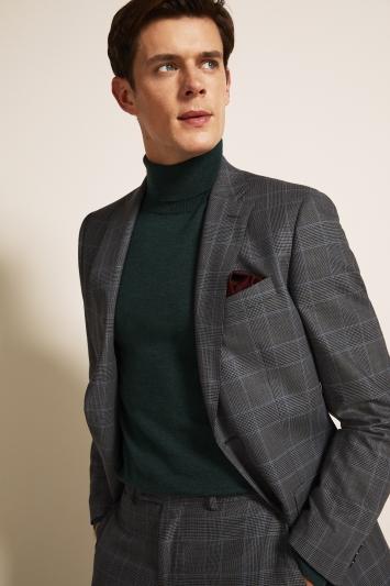 Regular Fit Grey Blue Check Jacket