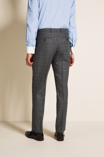 Savoy Taylors Guild Regular Fit Grey with Blue Check Trousers