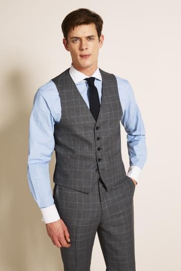 Regular Fit Grey Blue Check Waistcoat