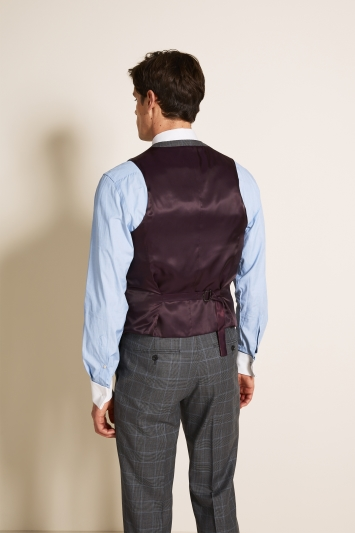 Savoy Taylors Guild Regular Fit Grey with Blue Check Waistcoat