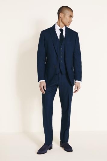 Savoy Taylors Guild Regular Fit Navy with Burgundy Check Jacket