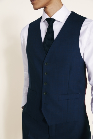 Savoy Taylors Guild Regular Fit Navy with Burgundy Check Waistcoat