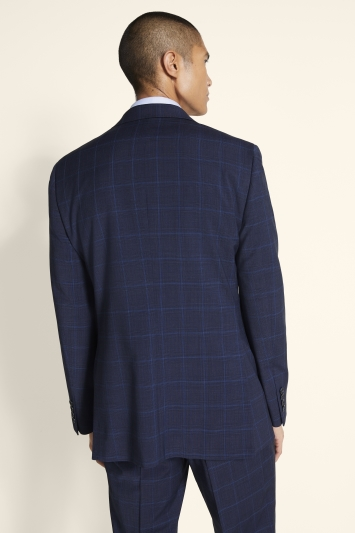 Tailored Fit Blue Check Stretch Jacket