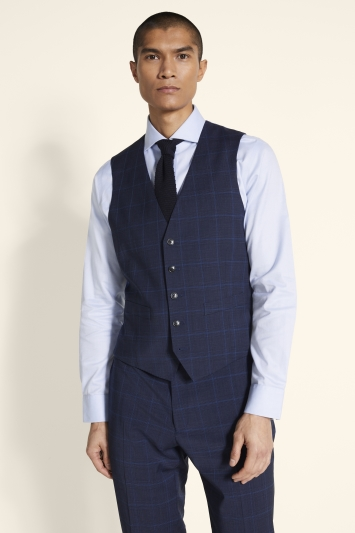 Moss 1851 Tailored Fit Blue Check Supreme Stretch Waistcoat