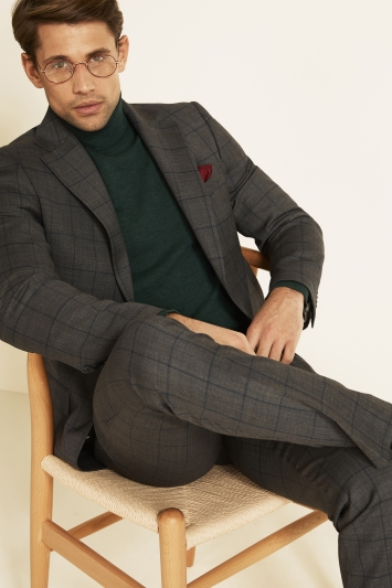 Moss 1851 Tailored Fit Grey with Blue Windowpane Check Supreme Stretch Jacket