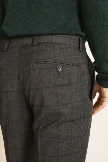 Moss 1851 Tailored Fit Grey with Blue Windowpane Check Supreme Stretch Trousers