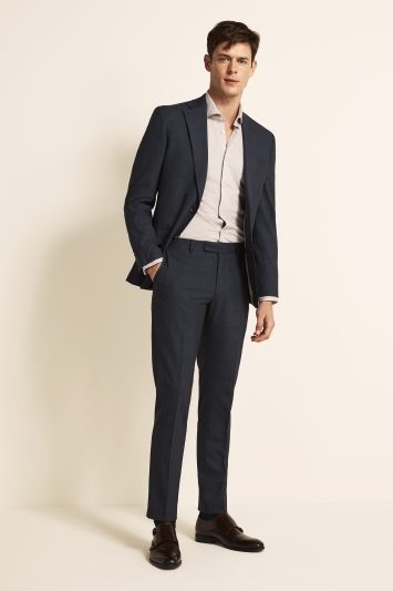 Tailored Fit Blue Gold Check Jacket