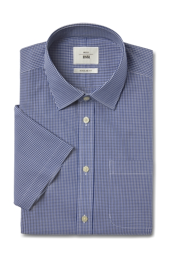 Moss 1851 Regular Fit Navy Short Sleeve Gingham Zero Iron Shirt