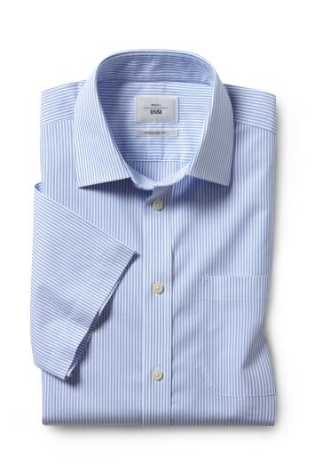 Regular Fit Blue Stripe Short Sleeve Zero Iron Shirt