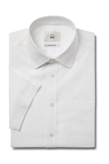 Moss 1851 Regular Fit White Short Sleeve Poplin Zero Iron Shirt