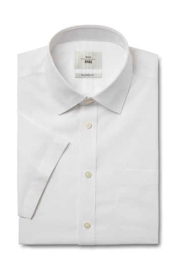 Moss 1851 Tailored Fit White Short Sleeve Poplin Zero Iron Shirt