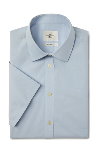 Moss 1851 Tailored Fit Sky Short Sleeve Poplin Zero Iron Shirt