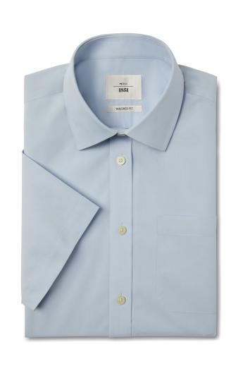 Moss 1851 Tailored Fit Sky Short Sleeve Poplin Zero Iron Shirt