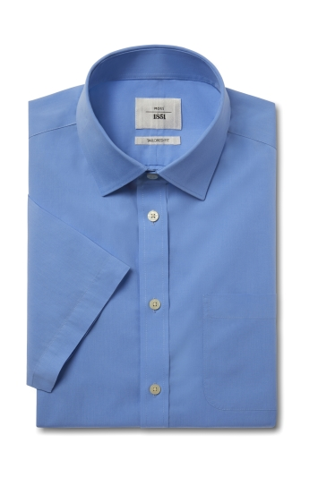 Moss 1851 Tailored Fit Cornflower Blue Short Sleeve Poplin Zero Iron Shirt
