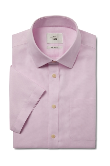 Moss 1851 Tailored Fit Pink Short Sleeve Textured Zero Iron Shirt