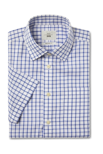 Moss 1851 Tailored Fit Blue Short Sleeve Twill Check Zero Iron Shirt