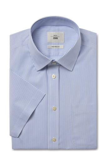 Moss 1851 Tailored Fit Blue Short Sleeve Stripe Zero Iron Shirt