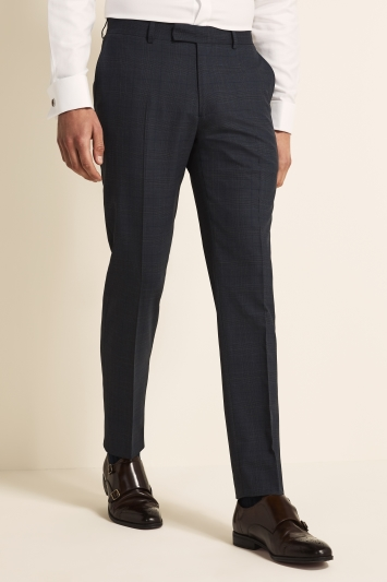 Tailored Fit Blue Gold Check Trousers