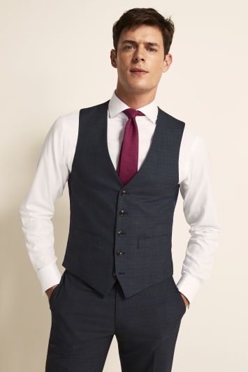 Tailored Fit Blue Gold Check Waistcoat