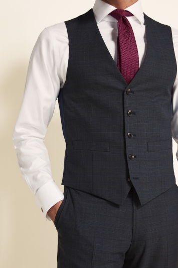 Moss 1851 Tailored Fit Slate Blue with Gold Check Waistcoat