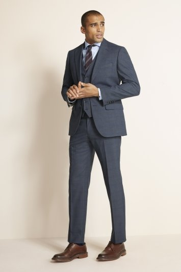 Moss 1851 Regular Fit Slate Blue with Gold Check Jacket