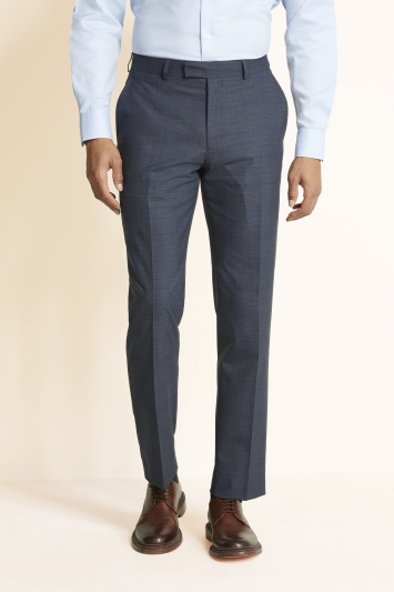 Moss 1851 Regular Fit Slate Blue with Gold Check Trouser
