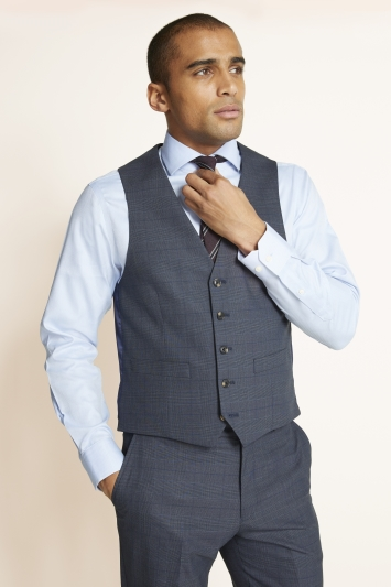 Moss 1851 Regular Fit Slate Blue with Gold Check Waistcoat