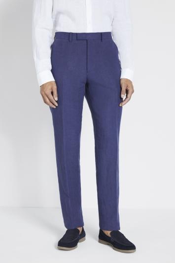 Moss 1851 Tailored Fit Indigo Linen Trousers