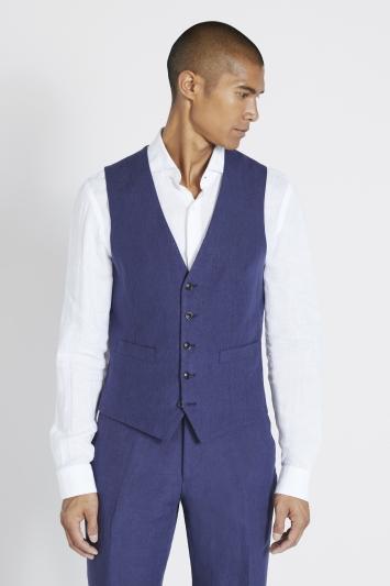 Moss 1851 Tailored Fit Indigo Linen Waistcoat