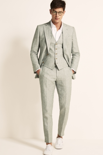 Moss 1851 Tailored Fit Green Lightweight Linen Jacket