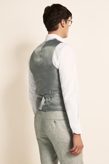 Moss 1851 Tailored Fit Green Linen Waistcoat