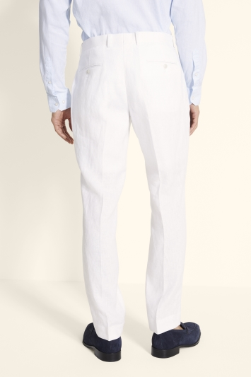 Moss 1851 Tailored Fit White Linen Trousers