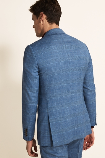 Moss 1851 Tailored Fit Light Blue Check Jacket