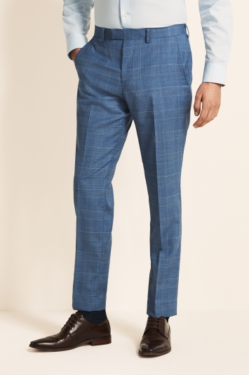 Moss 1851 Tailored Fit Light Blue Check Trousers