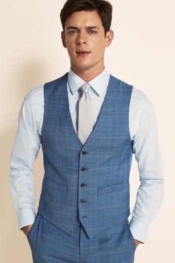 Moss 1851 Tailored Fit Light Blue Check Waistcoat