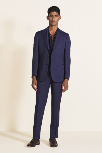 Moss 1851 Tailored Fit Relaxed Blue Check Jacket